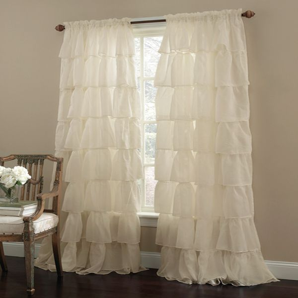 $23 each shabby chic curtains - gypsy ruffled window curtains - http://www TWESJTN