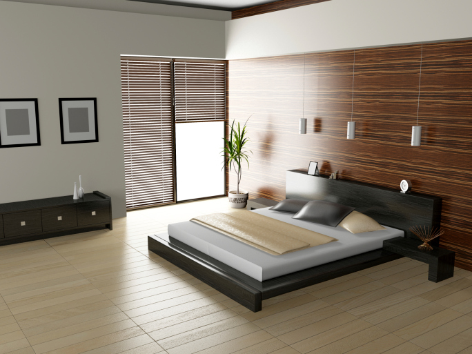 ... sleek modern bedroom with light wood floor and dark frame bed CGUSHTL