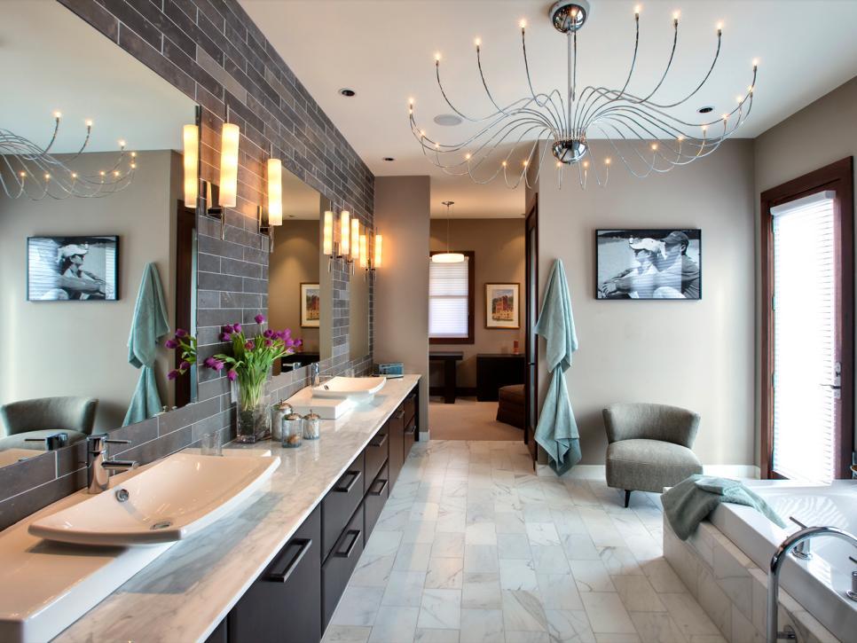 13 dreamy bathroom lighting ideas | hgtv UQRLPJB