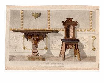 1819 gothic furniture original antique furniture home decorative hand  colored engraving - FKFFBXP