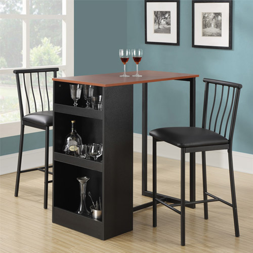 3 piece dining set dorel living isla 3-piece counter height dining set with storage, espresso HZLAIFY