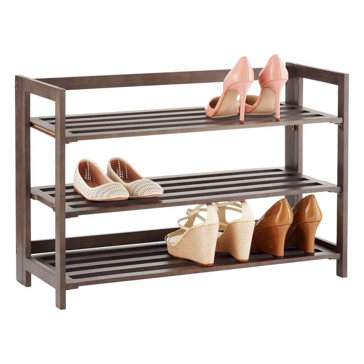 3-tier driftwood folding shoe rack ... ESFKOUV