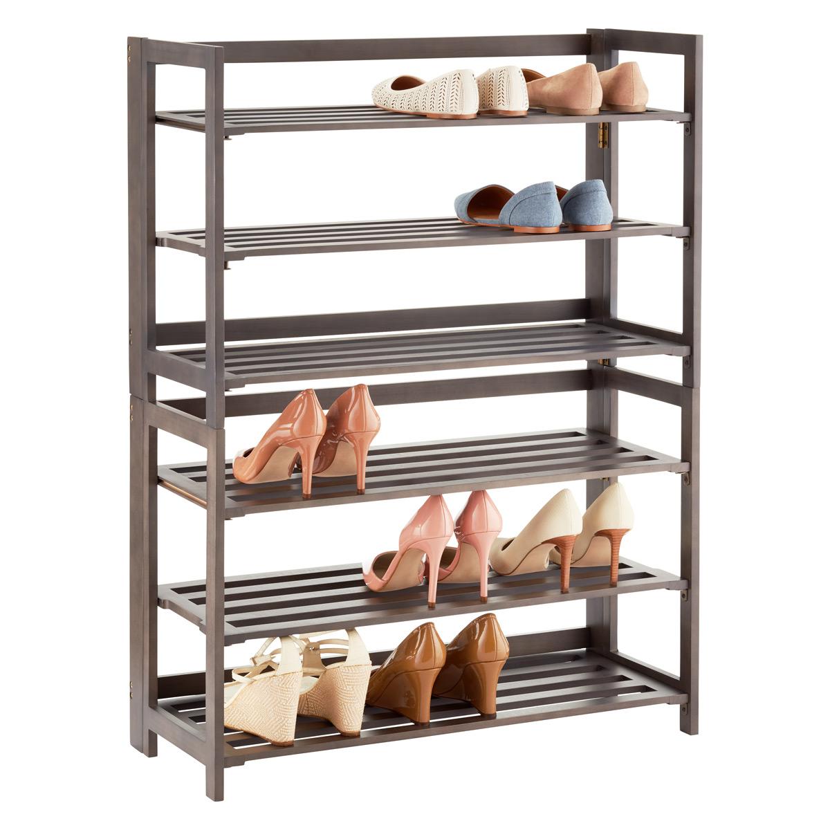 3-tier driftwood folding shoe rack VZDHNTX