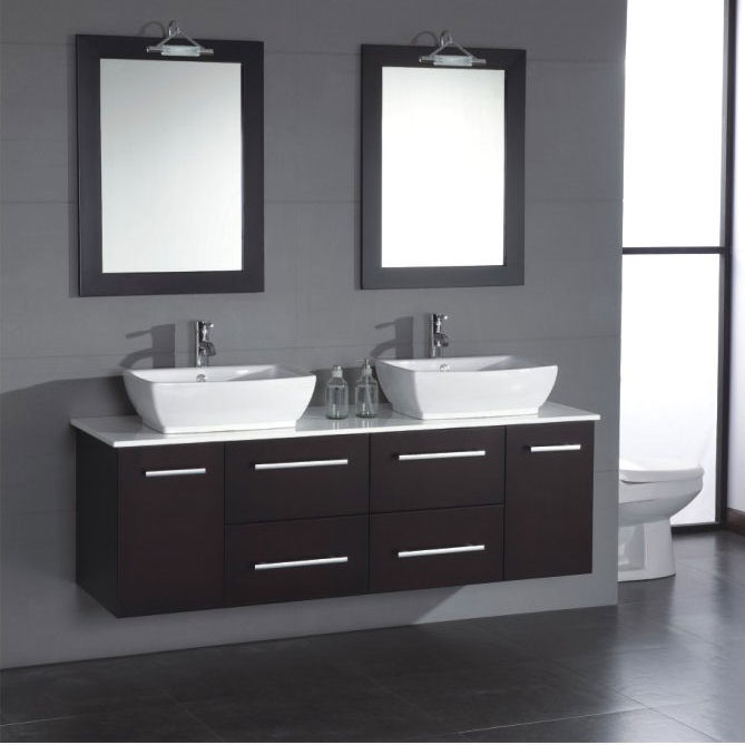 63 inch contemporary solid wood double sink vanity set OIMTLLP