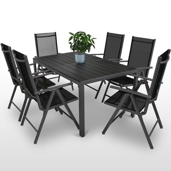 7 piece garden table and chairs set - dark grey - 1 HDPIRZK