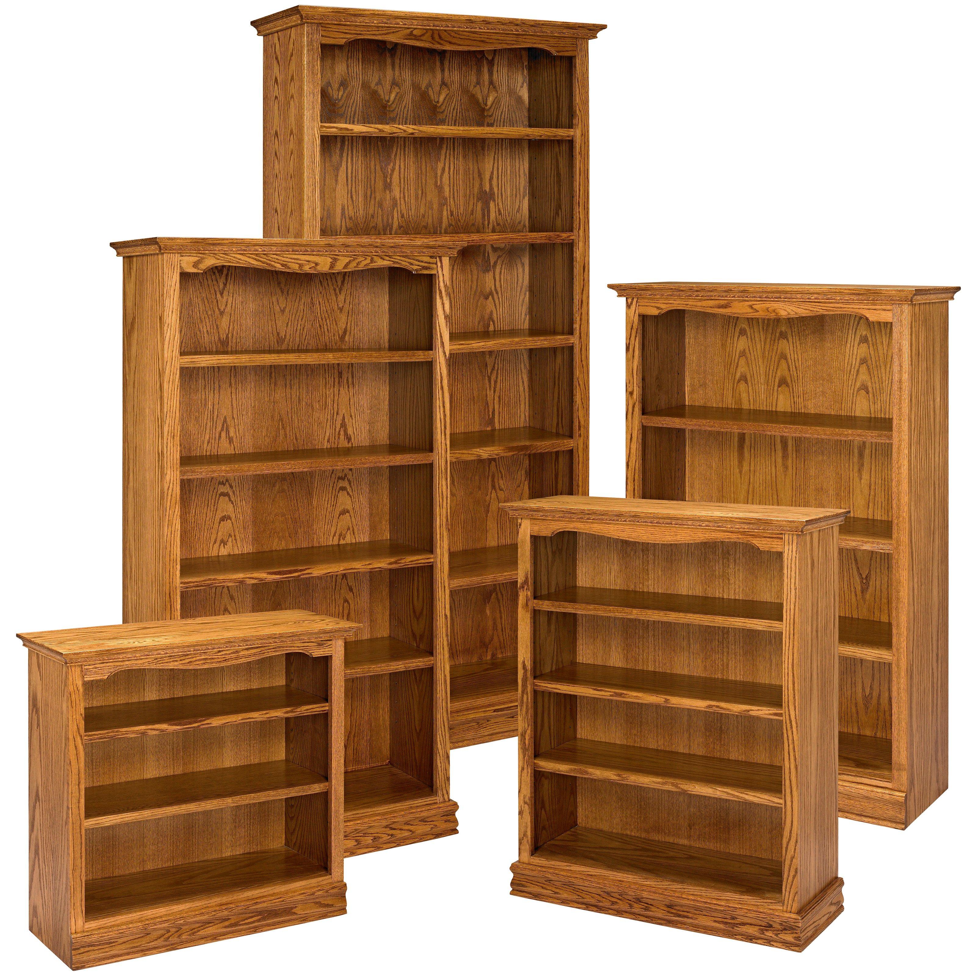a u0026 e solid oak americana wood bookcase - bookcases at hayneedle CMNNEMT