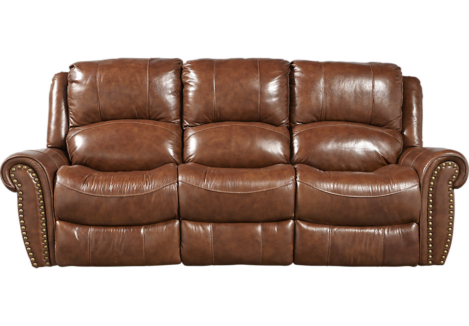 abruzzo brown leather reclining sofa - leather sofas (brown) NKXVJDH