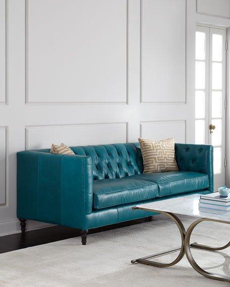 alexandria tufted leather sofa IUUNNLE