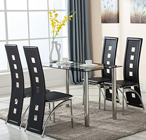 amazon.com - 5 piece glass dining table set 4 leather chairs kitchen VRVNOHP