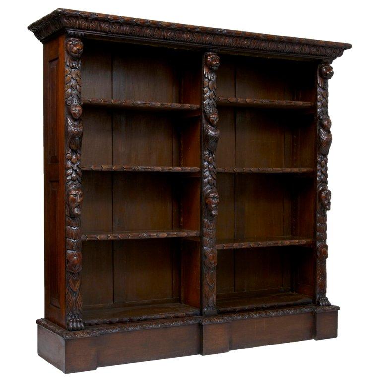 antique bookcase 19th century antique carved oak bookcase 1 VUQVXHO