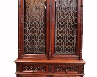 antique bookcase magnificently carved antique french gothic bookcase with leaded glass  doors, walnut, turn KCAWSPT