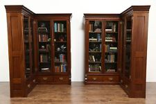 antique bookcase pair 1890 antique mahogany library corner bookcases, glass doors,  disassemble GBPGJQN