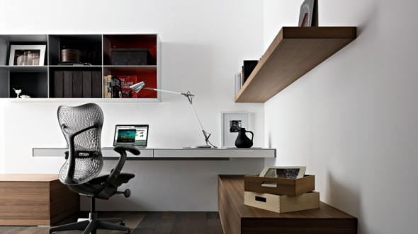 awesome modern home office decoration idea with wall-mounted laptop desk USRNQNF