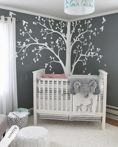 baby room decoration baby bedroom home art decor cute huge tree with falling leaves and birds WNQIGJL