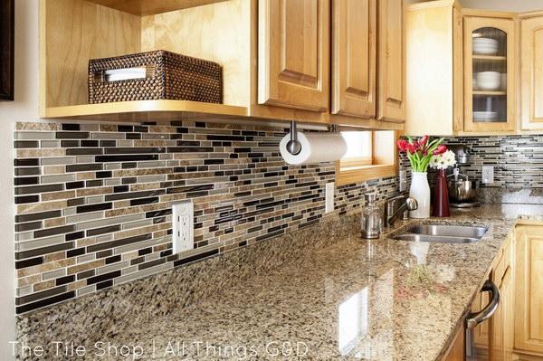 backsplash ideas diy linear mosaic tile backsplash VIKJHWJ
