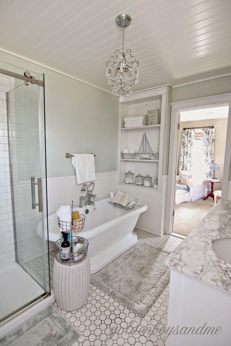 bathroom chandeliers diy master bathroom with pedestal tub, chandelier, and built  ins-www.goldenboysandme RZRSJWB