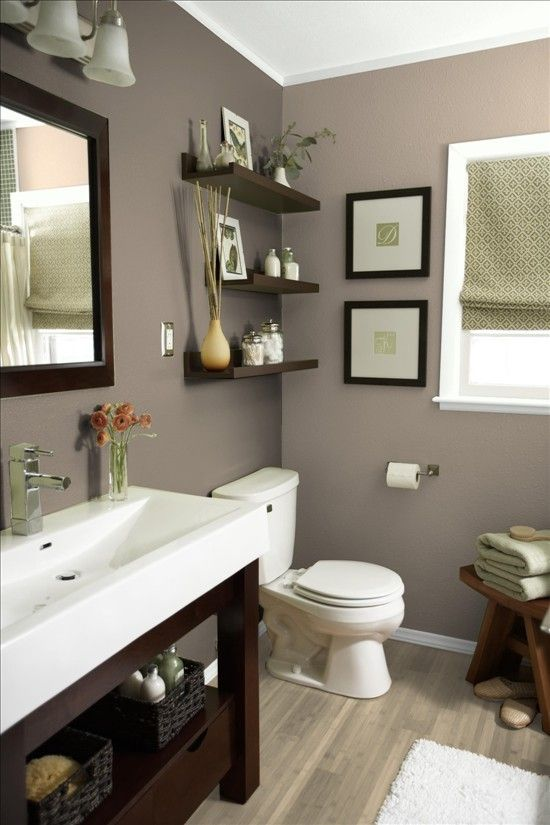 bathroom color bathroom vanity, shelves and beige/grey color scheme. more bath ideas here: EESPZEN