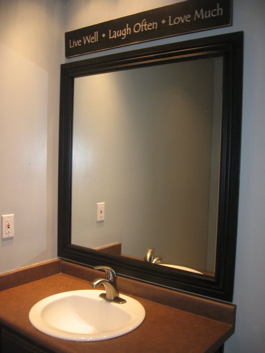 bathroom: contemporary wall mirrors for bathrooms with inspirative quote  above the mirror ZAECXJW