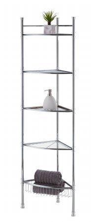 bathroom corner shelves best living adjustable 5-tier bathroom corner shelf - chrome by best living AWQOBKF