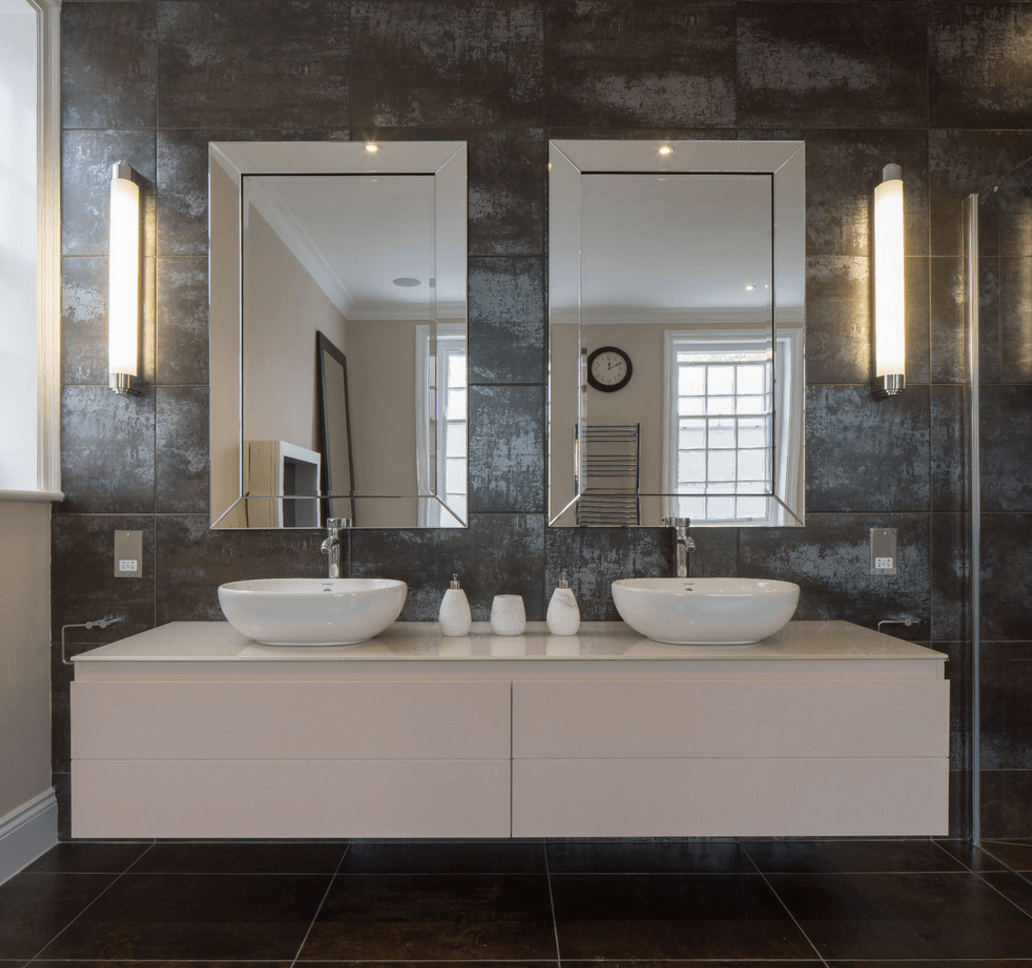 bathroom mirror ideas collect this idea double-mirror-granite-bathroom XSYETUE