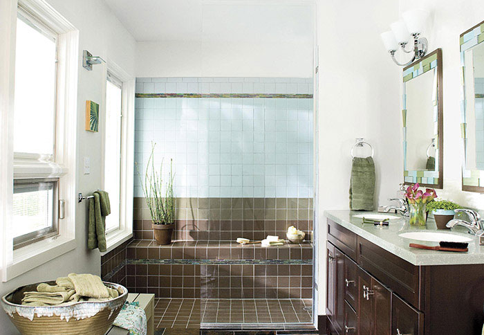 bathroom remodel ideas bathroom with contemporary double vanity and brown tiles EBPXWUV