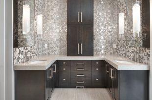 bathroom remodel ideas metal mosaic LCAQZAW