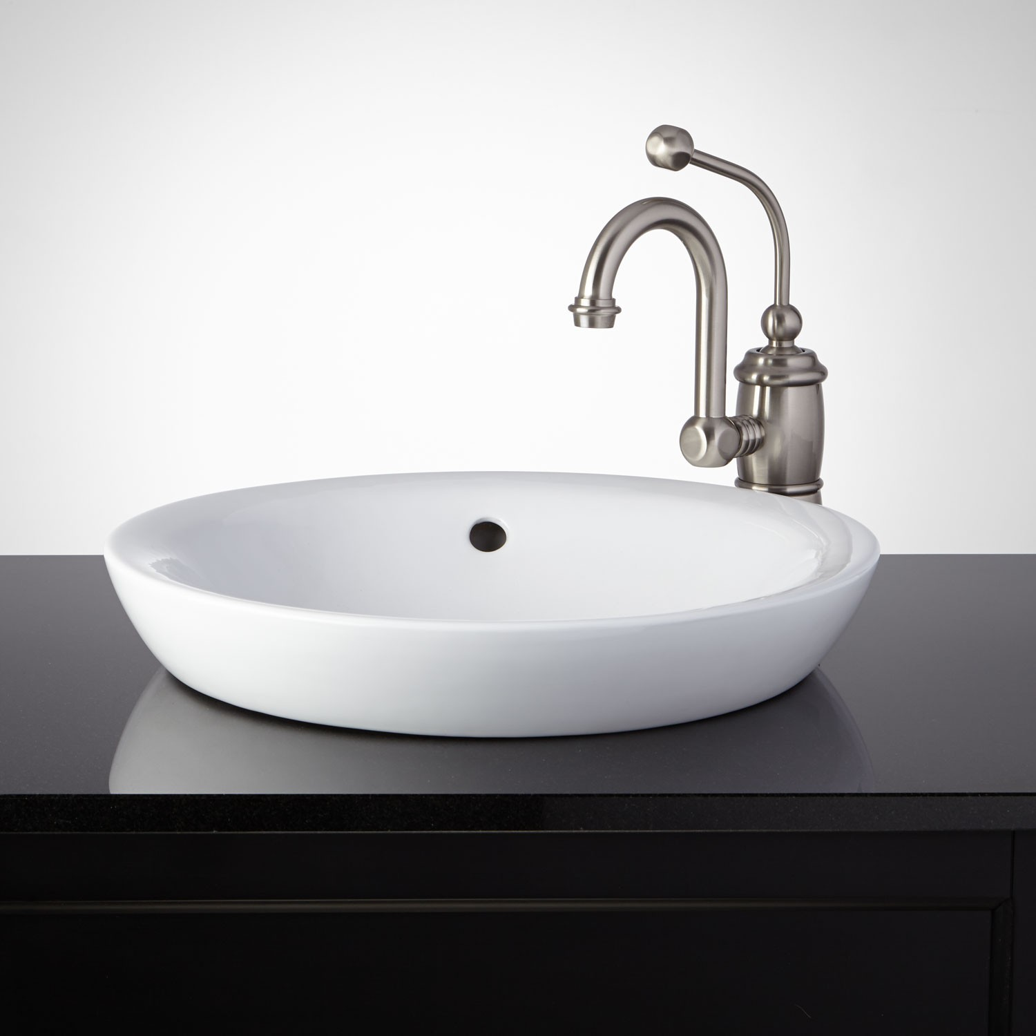 bathroom sink ... this semi-recessed porcelain sink gives your bathroom a stylish, modern  look. PCPJQGI