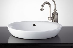 bathroom sinks ... this semi-recessed porcelain sink gives your bathroom a stylish, modern  look. JBUYRJY