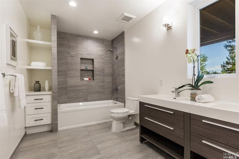 bathroom styles contemporary full bathroom with wall sconce, double sink, grey porcelain  tile, undermount UOQBIPI