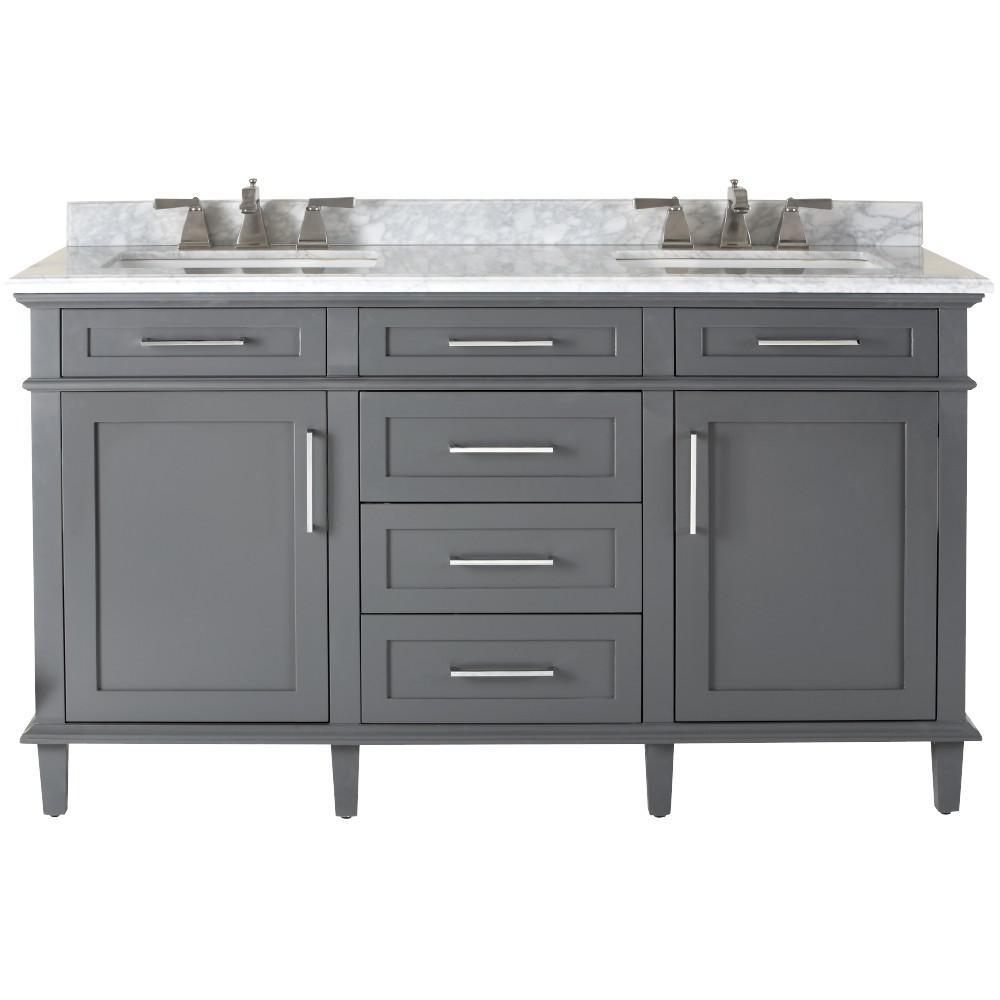 bathroom vanities with tops double vanity in dark charcoal with natural marble vanity top in grey RNDDBHH