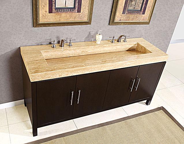 bathroom vanities with tops silkroad 72 inch travertine top bathroom vanity UQHLDBC