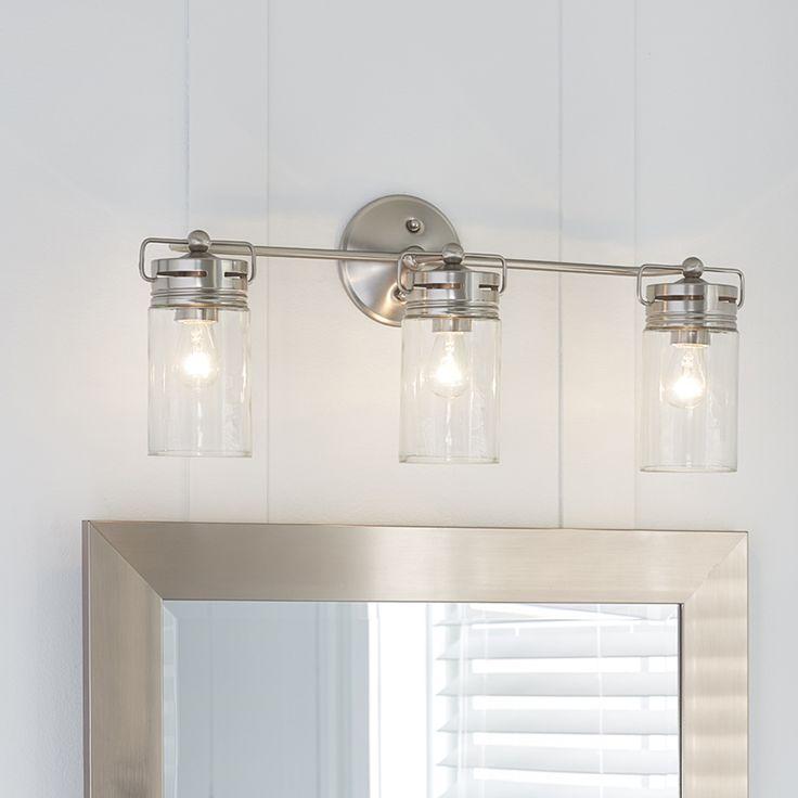 bathroom vanity lights allen + roth 3-light vallymede brushed nickel bathroom vanity light item # PNLYLMH