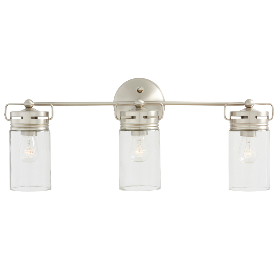 bathroom vanity lights allen + roth vallymede 3-light 10.2-in cylinder vanity light TNSEGUD