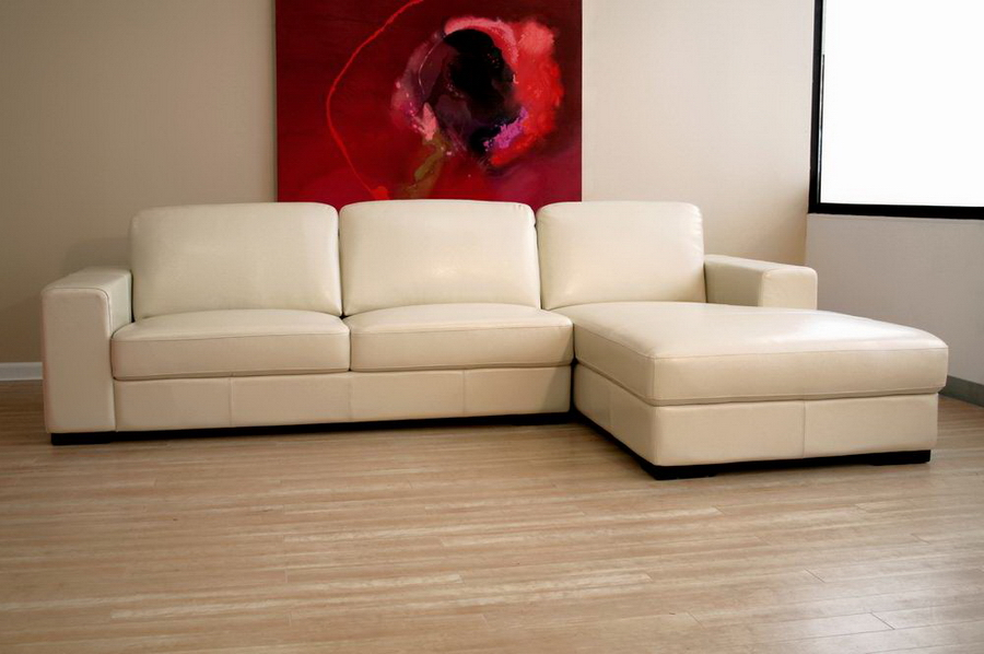 baxton studio cream leather sofa PVAYQSH
