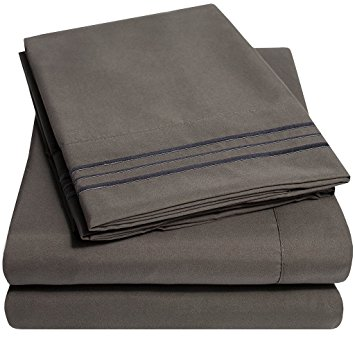 bed sheets 1500 supreme collection extra soft queen sheets set, gray - luxury bed LLVHZDC