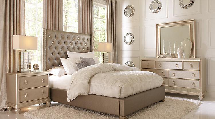 bedroom furniture sets sofia vergara paris silver 5 pc queen upholstered bedroom UZDJVSG
