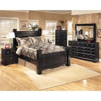 bedroom sets black contemporary 6-piece queen bedroom set - shay HPFSYWP