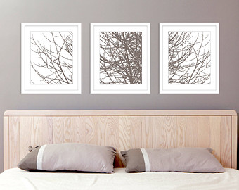 bedroom wall art modern tree branches art prints - set of 3 11x14 prints - taupe BEDSSYM