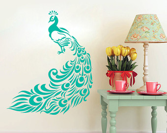 bedroom wall art, peacock stickers, peacock art, peacock LLSSGAU