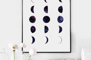 bedroom wall art phases of the moon print, moon phases wall art, watercolor moon phase RGRUPDN