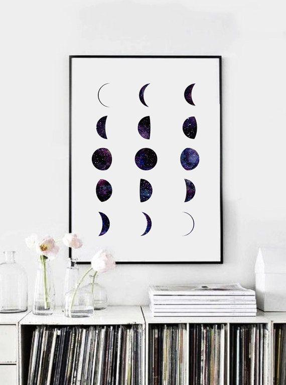 Bedroom wall decoration moon phases galaxy moon phase print moon wall by printasticstudio MNJBFMY