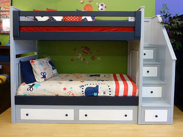 beds for kids deluxe milan twin over twin bunk bed w/angled staircase VBLQXZO