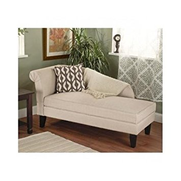 beige/tan storage chaise lounge sofa chair couch for your bedroom or living ANMLBIO