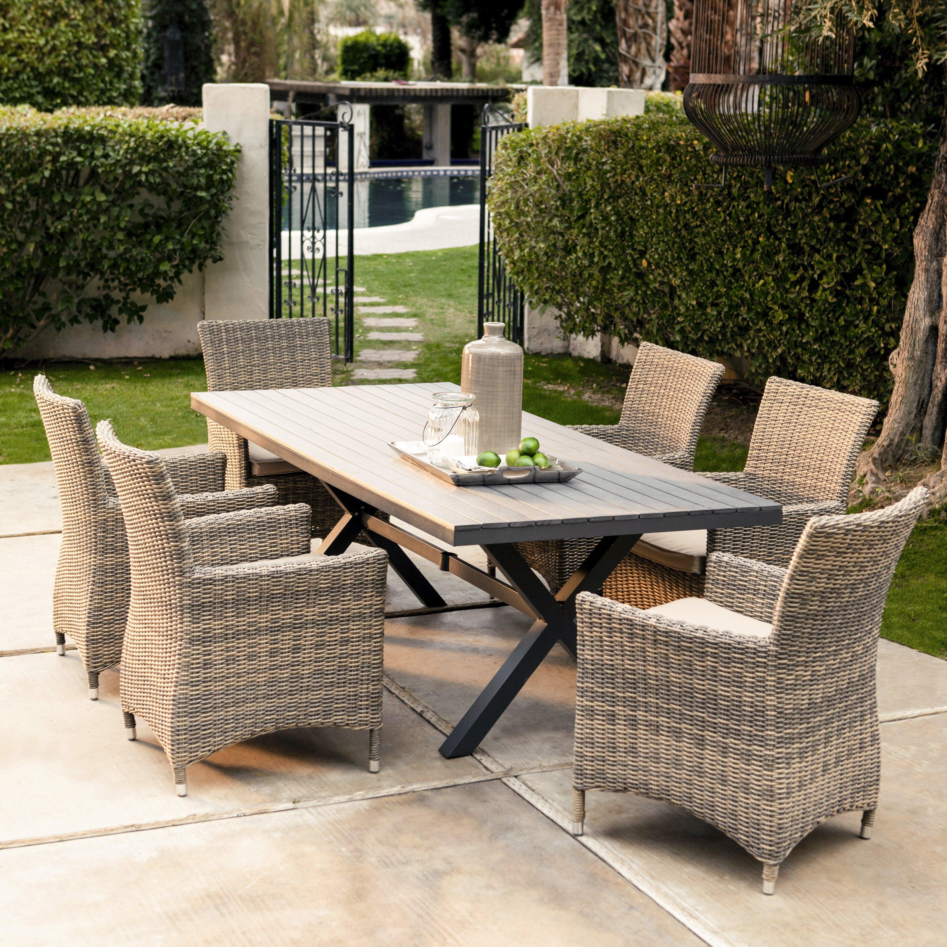 belham living bella all weather wicker 7 piece patio dining set - seats ISYCSMV