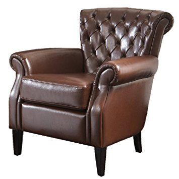best selling franklin bonded leather club chair, brown WUIJTQJ