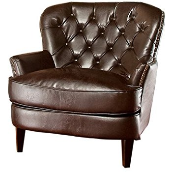 best selling tufted brown leather club chair LQEMLZJ