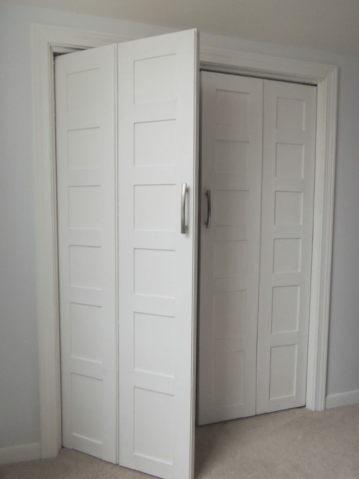 Bi fold closet door bi-fold to paneled french door closet makeover FYSNQMG