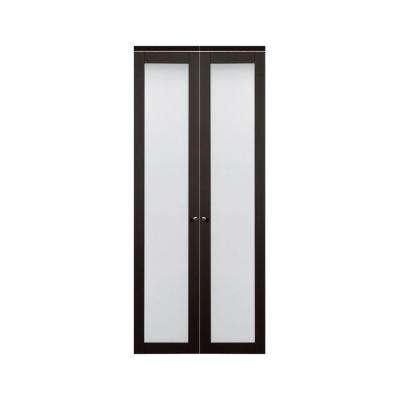 bi folding doors 3030 series 1-lite tempered frosted glass composite espresso interior  closet bi-fold door YSGQLXY