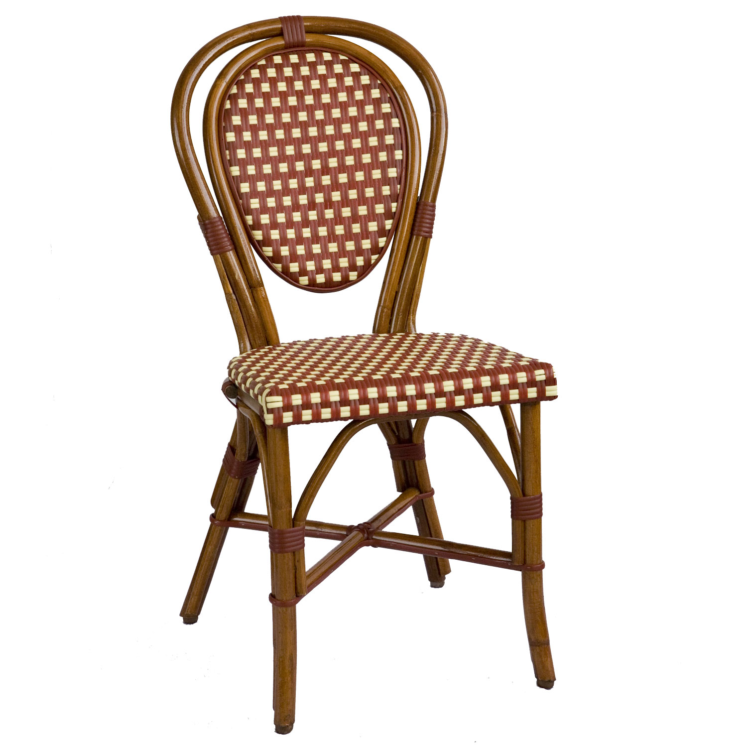 bistro chairs parisian rattan chair - burgundy/cream sq | american country IKHVDDK