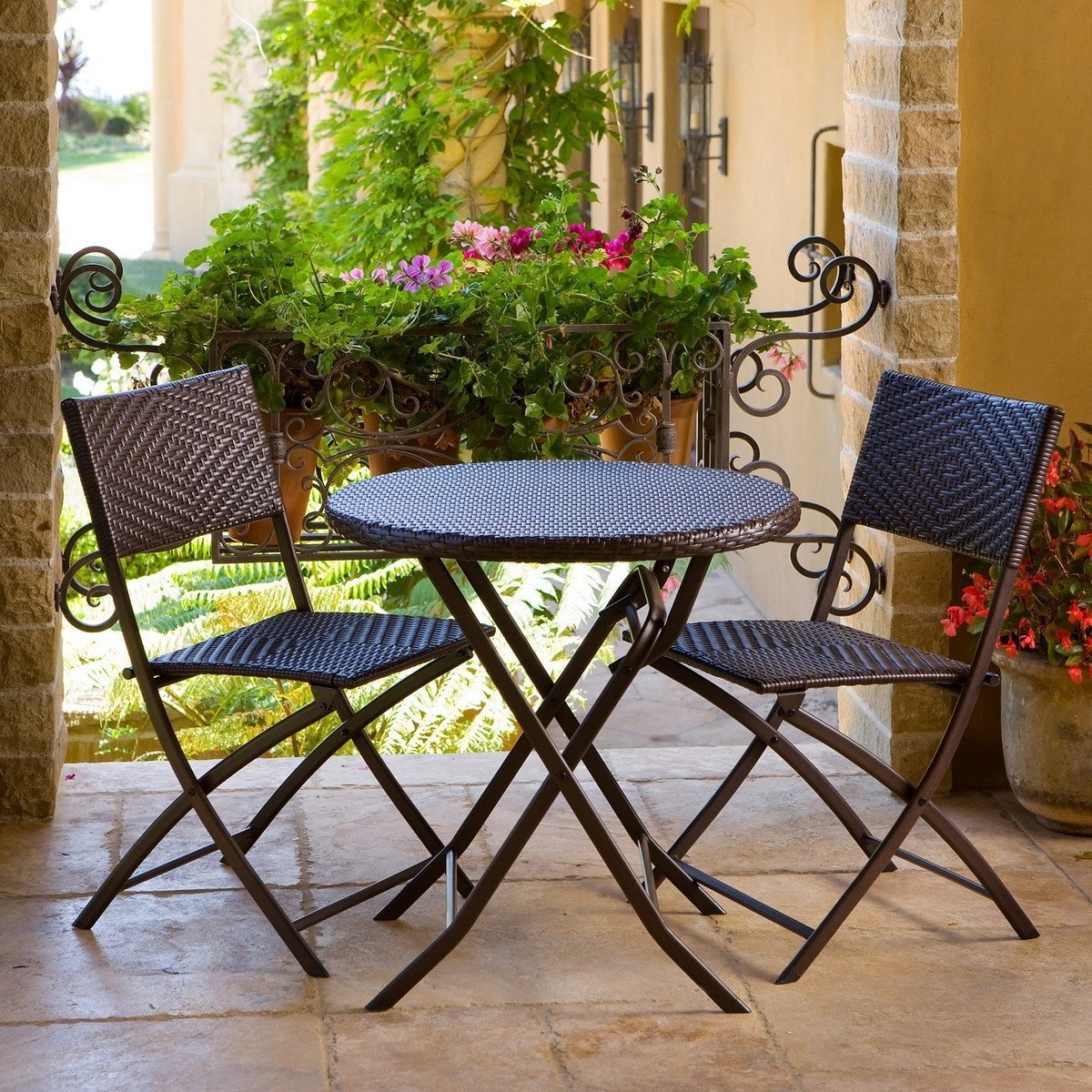 bistro patio set 3 piece outdoor bistro patio furniture set in espresso BOPITFH